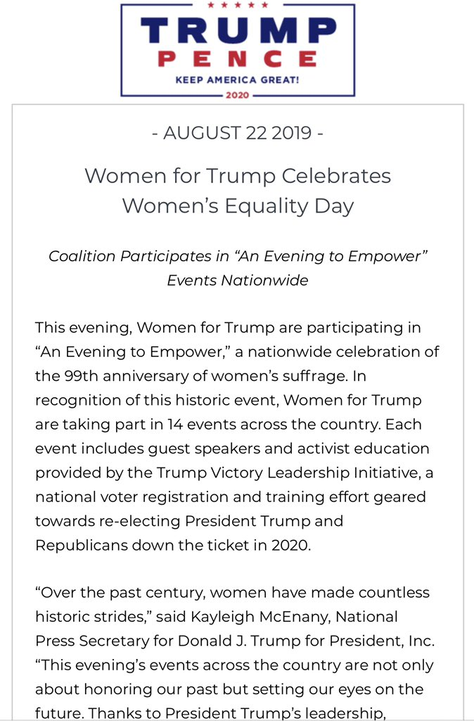 """Tonight @TeamTrump women span across the nation - find an event near you below! """"These events serve as a testament to the resounding support that has mobilized for President @realDonaldTrump in 2020 & the key role that women will play ahead of this critical election."""""""