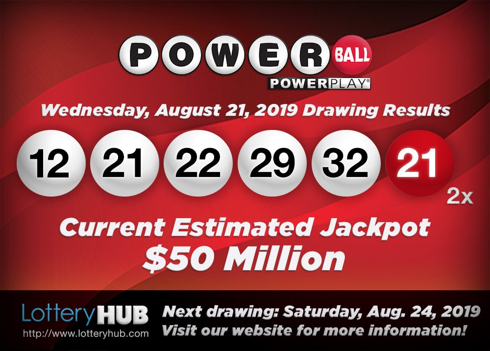 One very lucky $1 million winners in Nebraska for the 8/14/19 Powerball drawing! Current est. jackpot: $50 million.  Current draw: 12-21-22-29-32—21-*2x.  Next drawing: Saturday, August 24. #DreamBig #LotteryHUB, #iOS & #Android. https://t.co/3GPyoHg9oO https://t.co/OwFr74a90q