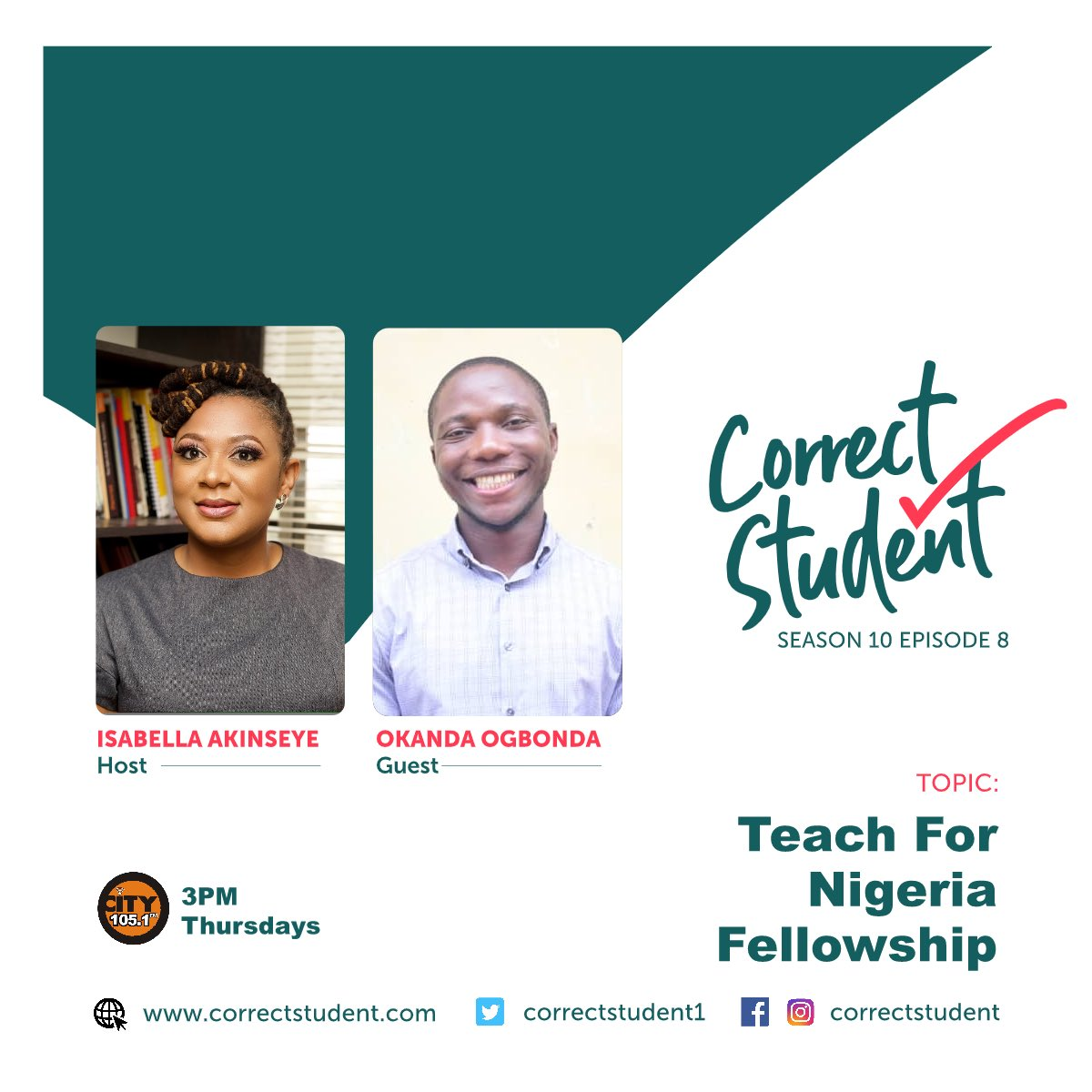 Isabella Akinseye @IAkinseye will be discussing the @Teach4Nigeria fellowship with a pioneer Fellow (2017 cohort), Okanda Ogbonda on today's episode of @correctstudent1. Tune in at 3 PM to @CITY1051 FM or listen online at  http:// city1051fm.com     #CorrectStudent #RadioShow <br>http://pic.twitter.com/toDob4Q5Yd