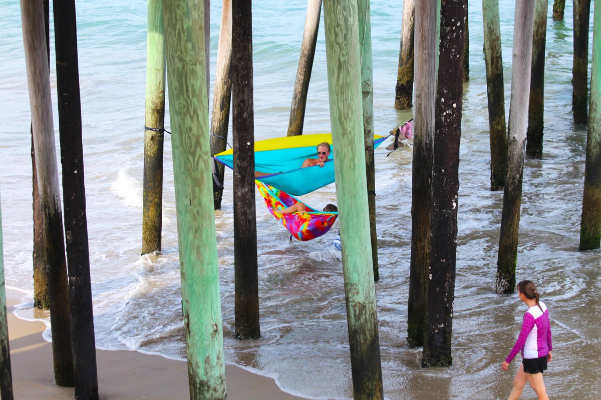 Meanwhile, on the Outer Banks.... http://OuterBanksVacations.com #iloveobx #outerbanks #obx #takeiteasy #beachlife #travel #vacation #relax #hammock #pier
