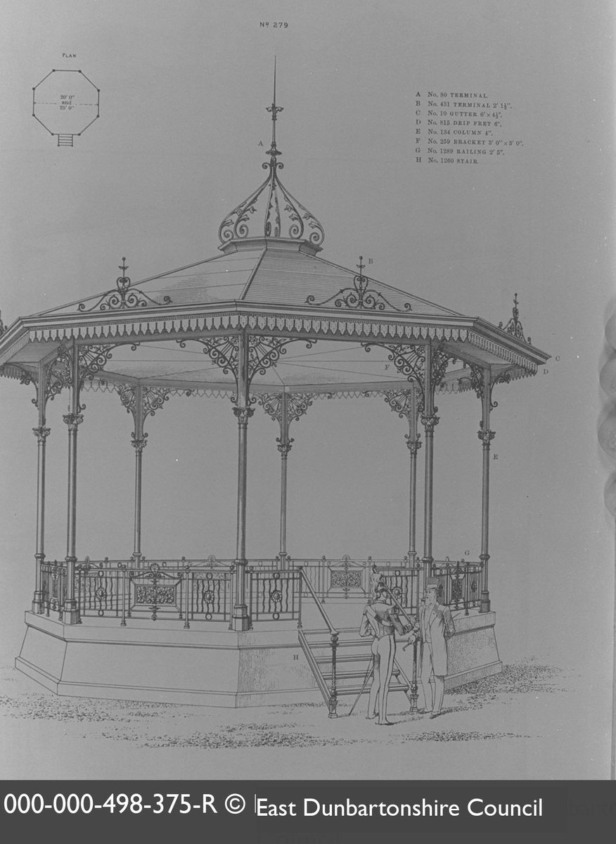 Foundries once made catalogues like this to advertise their beautiful designs. This one, showing a #bandstand, was made by Macfarlanes - one of the most significant makers of ornamental ironwork in #Scotland! #IronworkThursday📷 From @EDCouncil @Scranlife