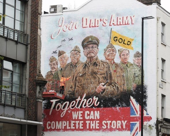 I am blown away by the scale of UKTV's imaginative approach to advertising our Lost Episodes of Dads Army. Here they have commissioned a '40's style wall mural in Clerkenwell! <br>http://pic.twitter.com/wUeqIDa4xU
