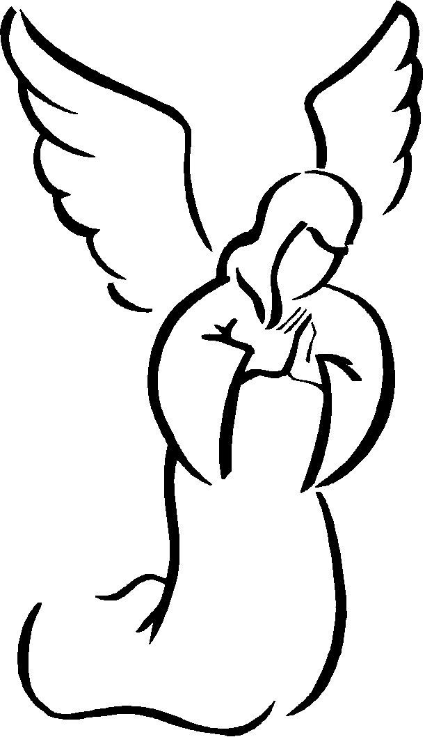 Черно белая открытка ангела, днем рождения именем