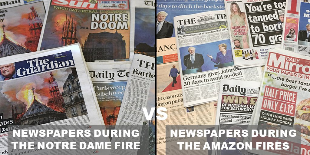 When Notre Dame burned it was on the front page of every major UK newspaper. The Amazon rainforest has been burning for over two weeks but take a look at todays front page. Why is there not more outrage?! This is a #ClimateEmergency RT to make this huge! #ActNowForAmazonia