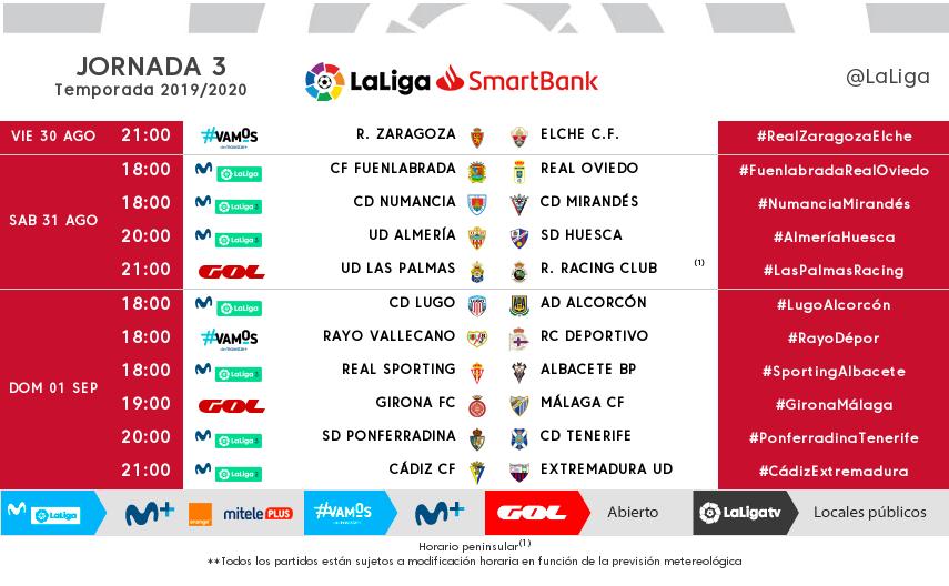 Modificación del horario del partido Real Zaragoza-Elche en la jornada 3 (Foto: @LaLiga).