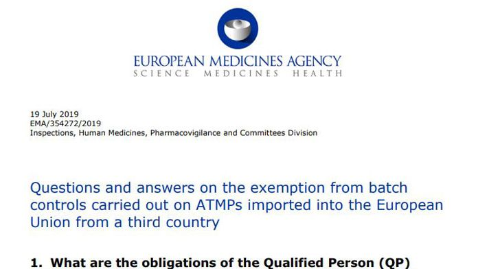 A new Q&A from @EMA_News describes when an exemption from EU batch re-testing can be granted for imported advanced therapy medicinal products | #Regulatory Focus https://ift.tt/2TSGVRP