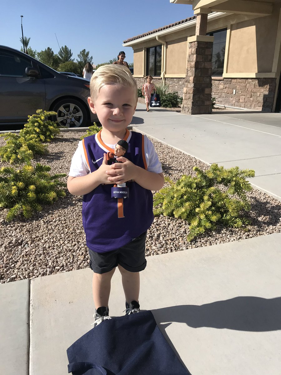Hey, @DevinBook! My little guy insisted on taking his bobble head to preschool for show and tell. He asked me to send you a picture so here you go.