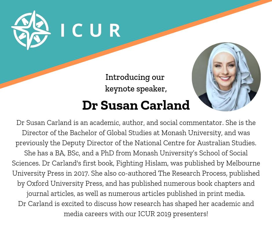 We are delighted to announce Dr Susan Carland as our keynote speaker for #ICUR2019 - read more about her below! @MonashUni @warwickuni @MonashWarwick