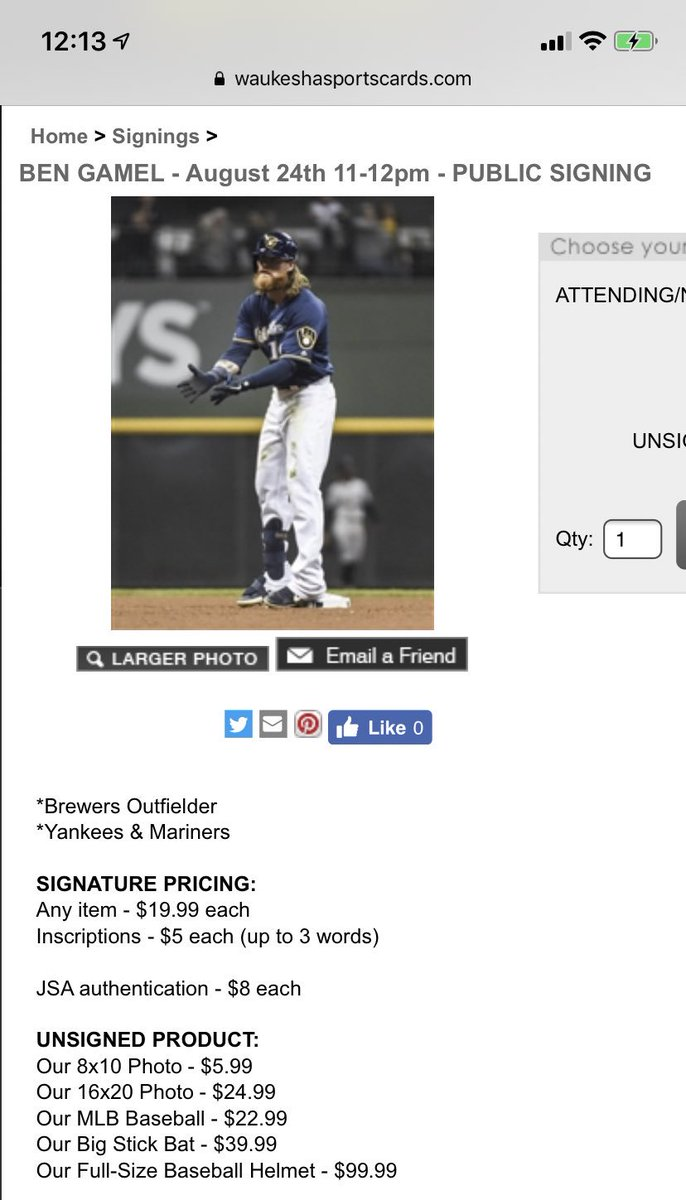 hello friends, i have zero affiliation with them but waukesha sportscards is hosting ben gamel and keston hiura signings this saturday. https://t.co/5IvqQWfc38