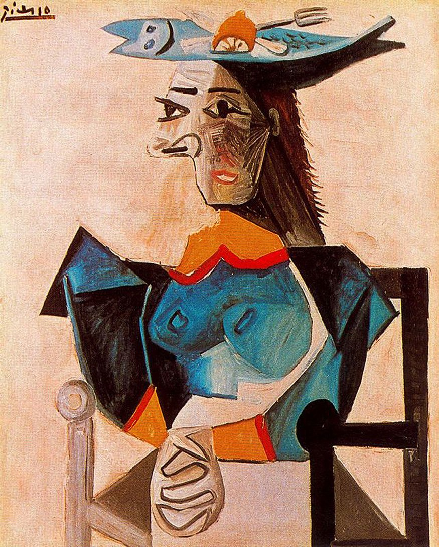Seated Woman with Fish, 1942 #spanishart #pablopicasso<br>http://pic.twitter.com/3mpagJgb2z