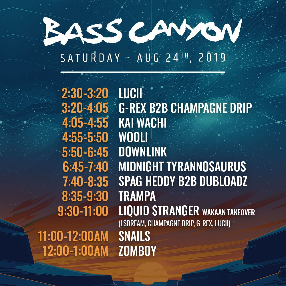 2019 Bass Canyon schedule