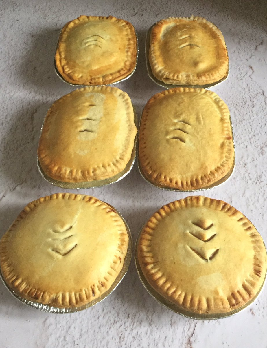 We've been raided again  there was 10 steak n onion oval pies and 3 Chicken curry pies. My little helper weighed my ginger Snaps, every biscuit 21g of dough. I have a chocolate cake to finish off too. Just another #BakingDay<br>http://pic.twitter.com/wqsWH7GYdu