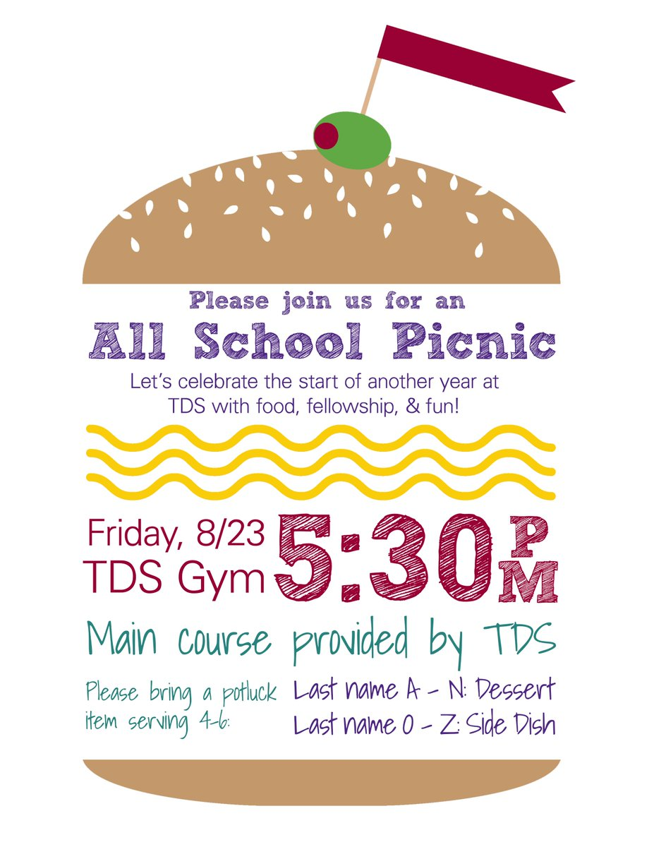 DON'T FORGET The TDS All-School Picnic is tomorrow! Come join us! #tdsjourney #backtoschool