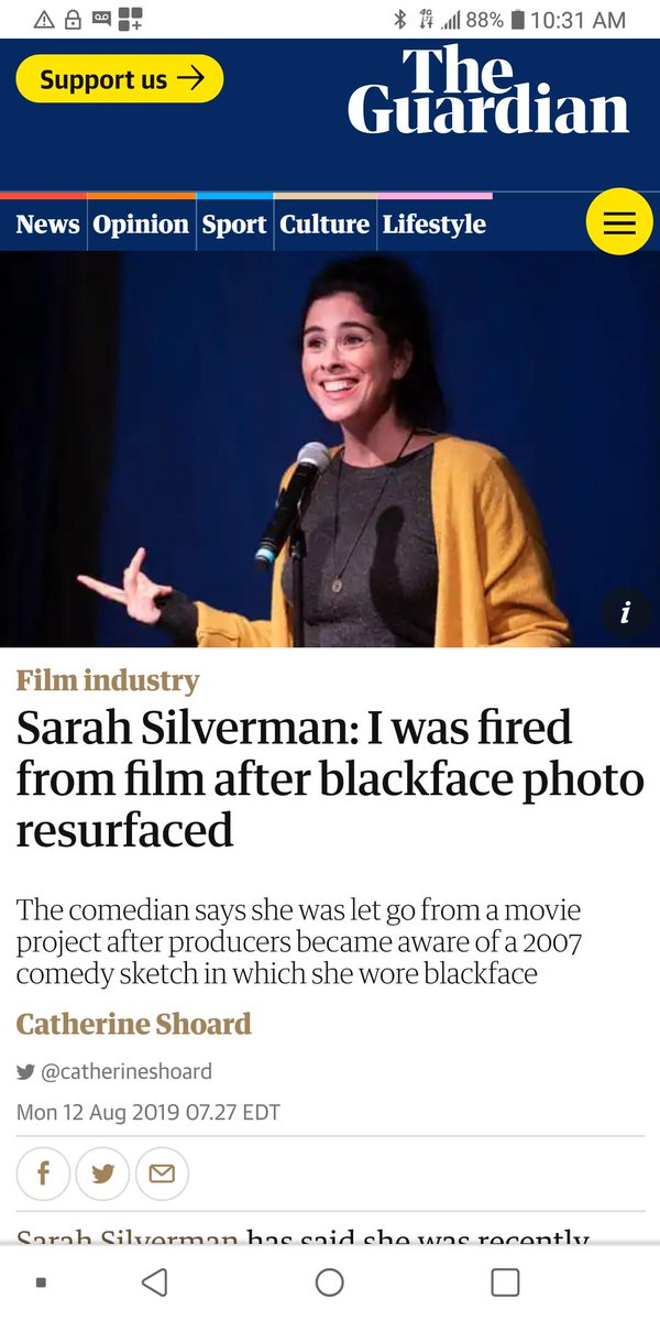 Sarah Silverman fired after black face photo from 2007 surfaced.   #sliverman #northam #trump #maga #democrats #libertarian #conservatives #meme #capitalism #conservativememes #usa https://t.co/o3LujTEALD