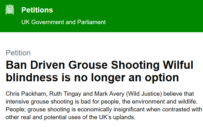 The long delay in publishing @ChrisGPackham e-petition to ban driven grouse shooting looks a bit odd to me. ow.ly/3gjX50vFc9C