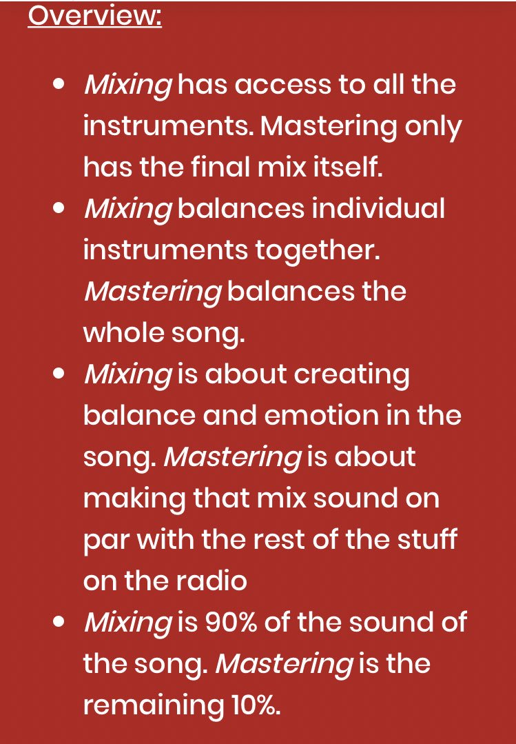 Wrote a blog post about the difference between mixing and mastering. Also added a bit about audio quality and how to send a song to mixing engineers and mastering engineers   https:// bsta.rs/b/5030      #mixingengineer #masteringengineer #audioengineer <br>http://pic.twitter.com/GCEa3Nu0Co