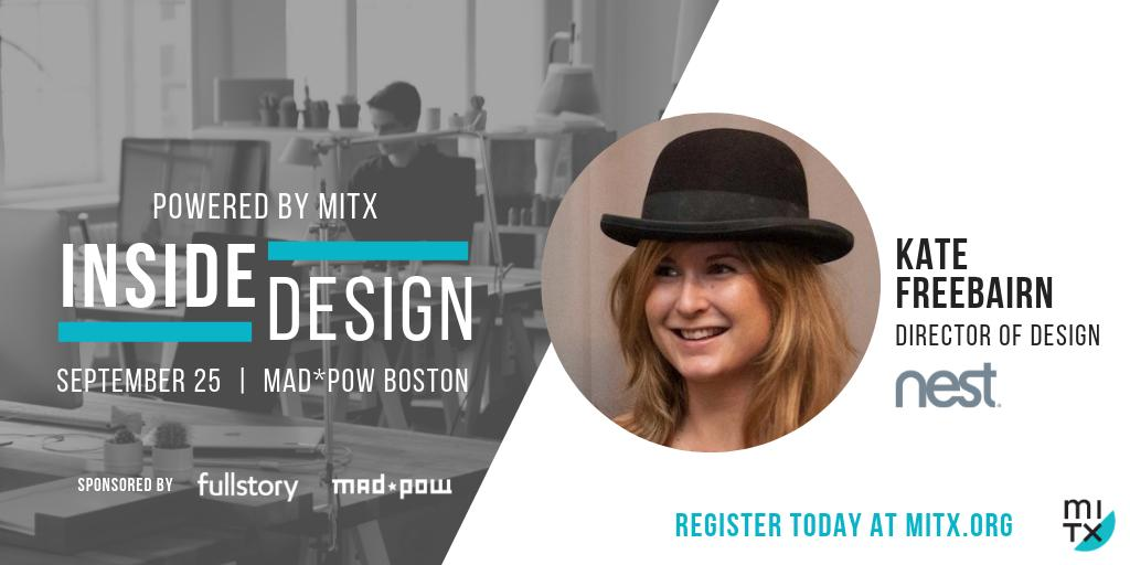 Join @googlenest Director of Design, Kate Freebairn, at the next @MITX #InsideDesign event, September 25 @MadPow. Register using code OBSERVER for the member discount! dogroup.co/2P4joP1