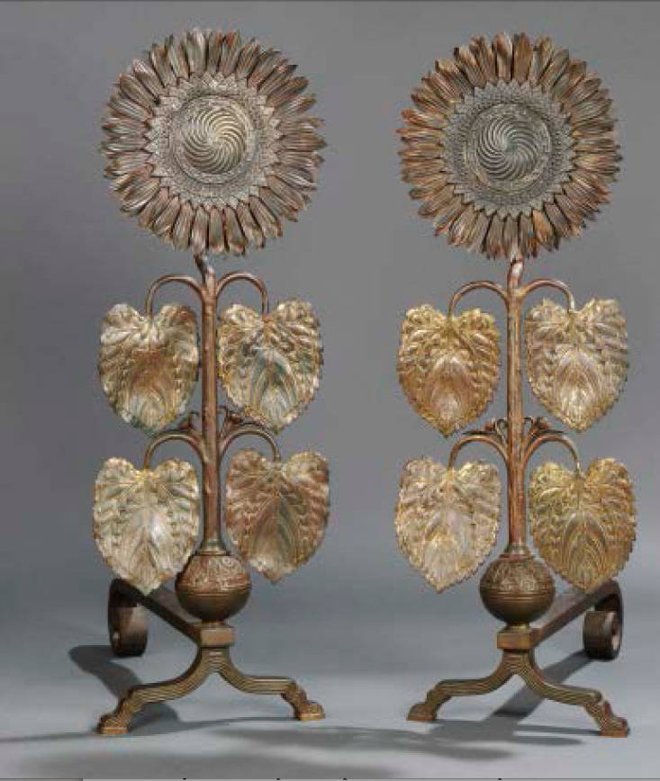 Another for #ironworkthursday -- some gorgeous sunflower andirons by Thomas Jekyll, c. 1876, brass with iron support.  Just need a fireplace!  http://www.victorianweb.org/art/design/jeckyll/1.html …