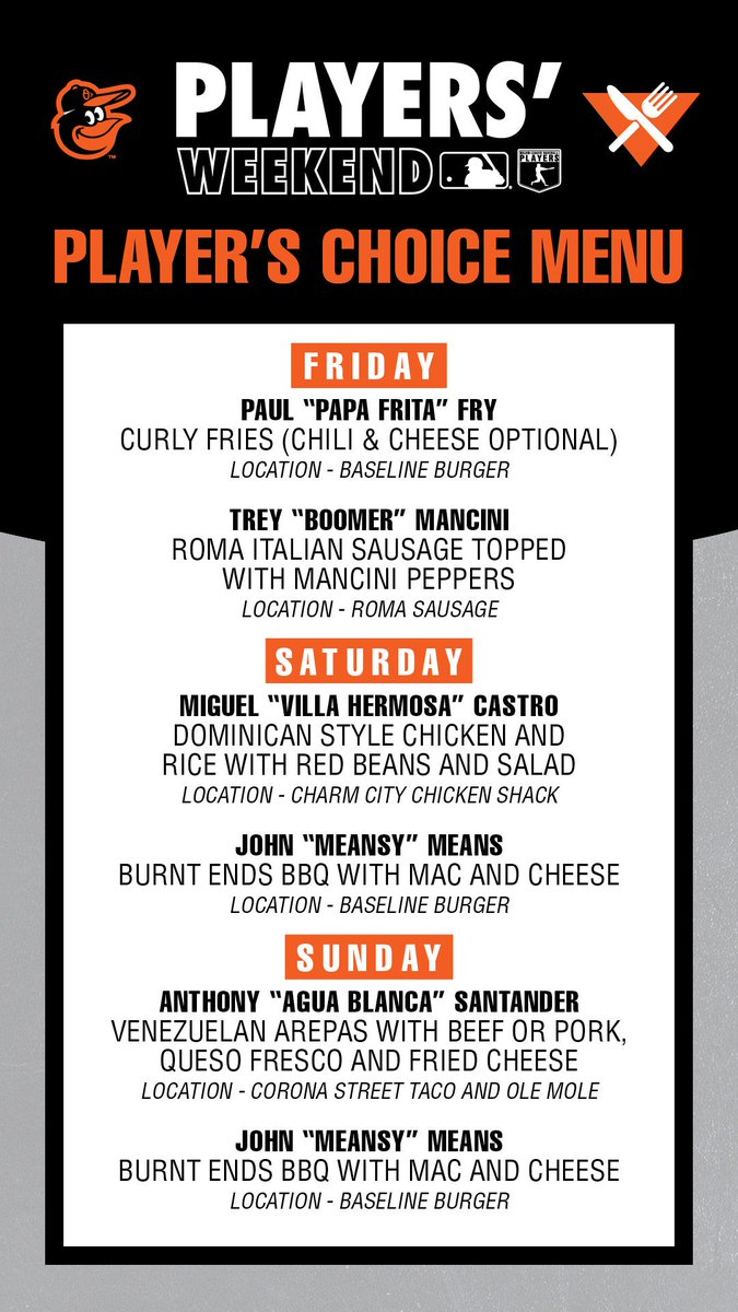 O's get creative with food for Players' Weekend