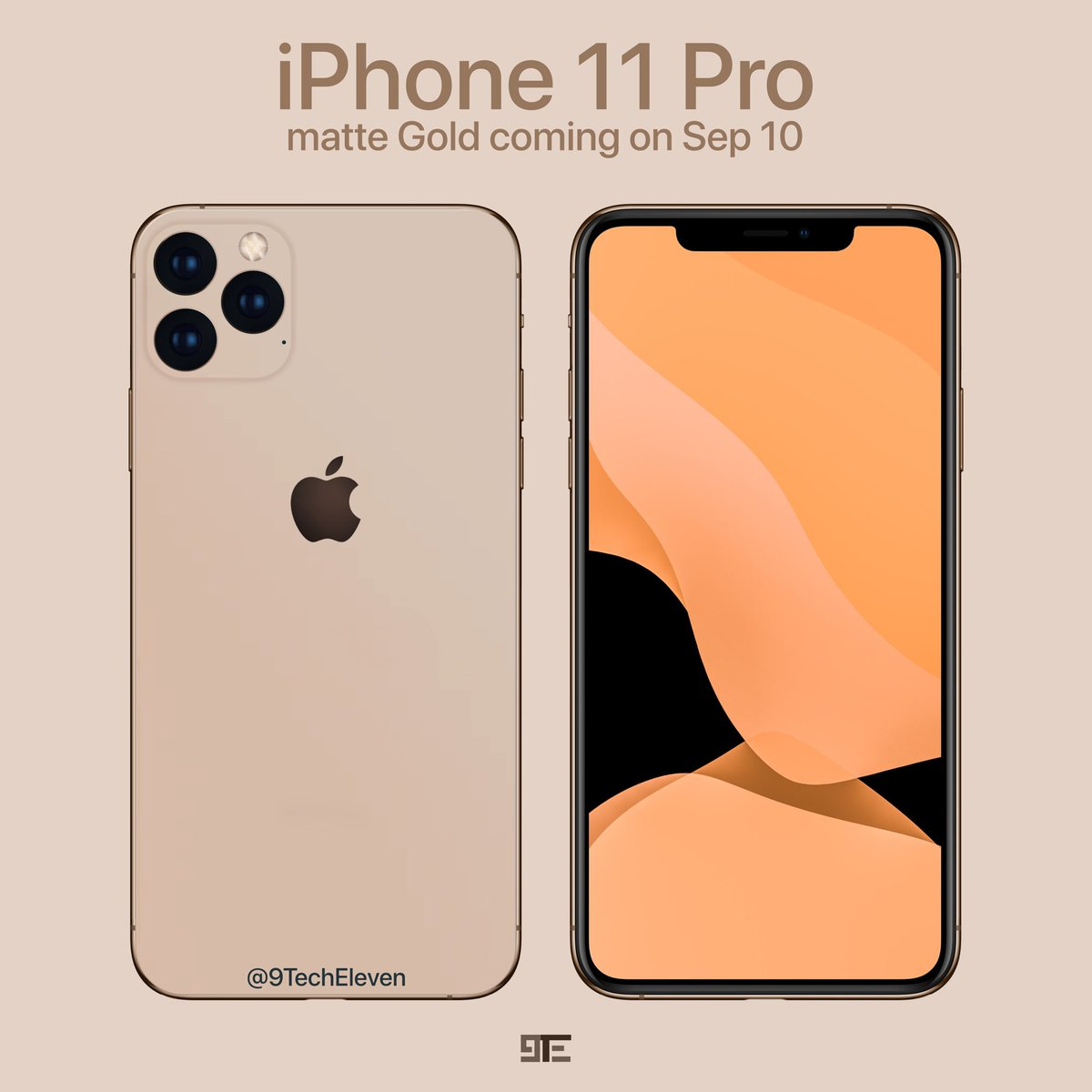 9techeleven On Twitter Gold Iphone 11 Pro Will Probably Look Different Than The Xs Since It Is Expected To Have A Matte Look And Feel Do You Like This Gold Tint Wallpaper