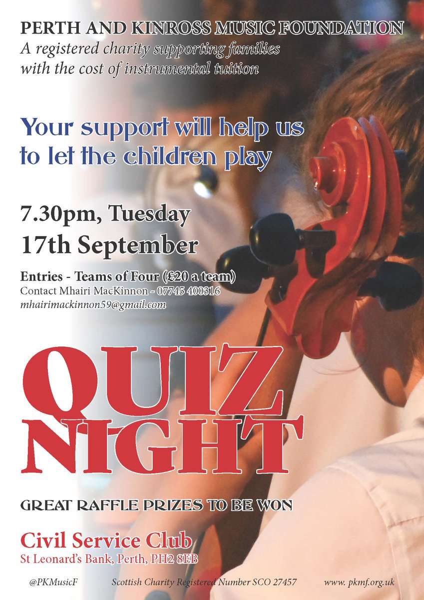 Quiz Night in aid of @PKMusicF - 7.30pm, Tuesday 17th September - Civil Service Club - please enter your team of 4 - £20 - contact mhairimackinnon59@gmail.com https://t.co/pZzVFXKYSI