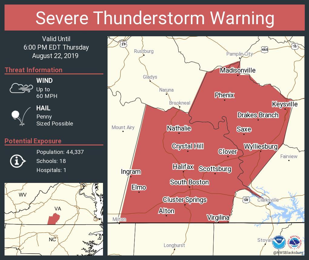 Severe Thunderstorm Warning including South Boston VA, Halifax VA, Mountain Road VA until 6:00 PM EDT https://t.co/x2wVemNbqT