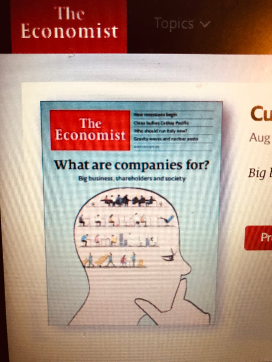 Please take a look at our latest Economist cover package on how big business wants to lavish attention on social injustice, economic inequality and the climate crisis - shareholders can fend for themselves