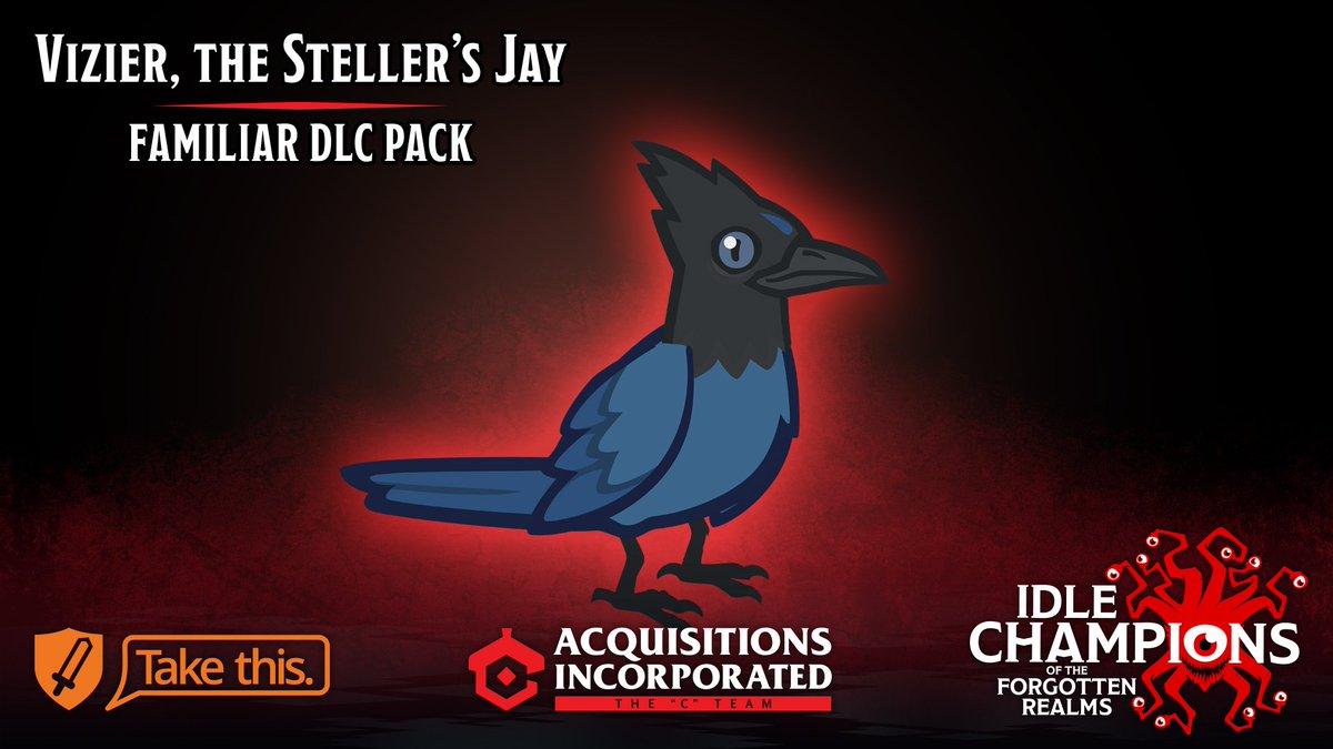 Tonights episode is #sponsored by @idlechampions! This month, Idle Champions has partnered with @TakeThisOrg to release the Vizier, the Stellers Jay Familiar DLC pack. Support this great cause by picking up the pack, and find out more about the game at idlechampions.com/criticalrole!
