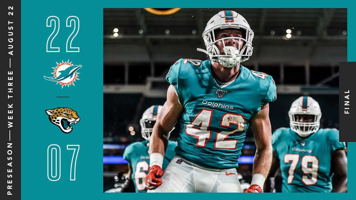 RT @MiamiDolphins: Coming away with the win in our final preseason game at @HardRockStadium!  #FinsUp https://t.co/wJRHHqzrFA