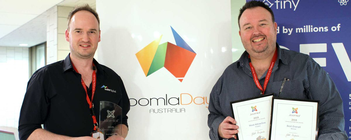 Congratulations to all winners and finalists in the inaugural 2019 Joomla Australia Site Awards. Winners were announced at JoomlaDay Australia 2019 in Brisbane.  https:// joomladay.org.au/news/117-jooml a-site-awards-2019-winners-and-finalists  …   #JoomlaDayAu #JoomlaAu #joomla<br>http://pic.twitter.com/8zg3XTAfxK