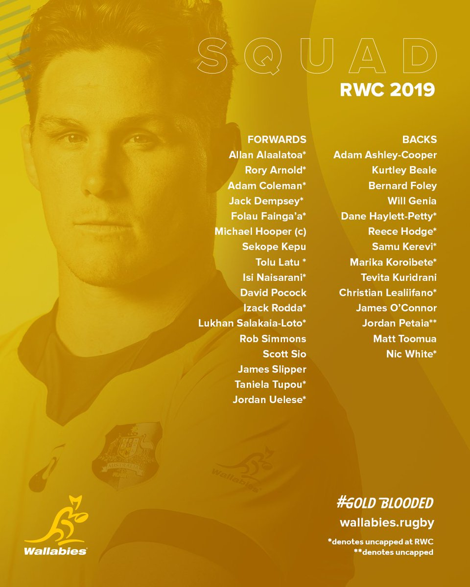 BREAKING: Your #Wallabies squad to travel to Japan for the 2019 Rugby World Cup!   READ:  http:// bit.ly/RWC2019Squad       #GoldBlooded  #RWC2019 #TeamRugby<br>http://pic.twitter.com/kFICJBNPqU
