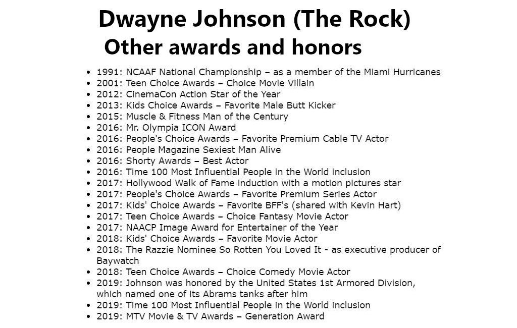 @ryanfoland @TheRock @MrLeonardKim @Newsweek @DitchTheAct @MHBusiness Dwayne (@TheRock) is a spectacular #success. IMO, he deserves every bit of that success and more. In addition to his multitude of wrestling awards, he has received many other awards and honors as well. 👇 The Rock rocks!👍