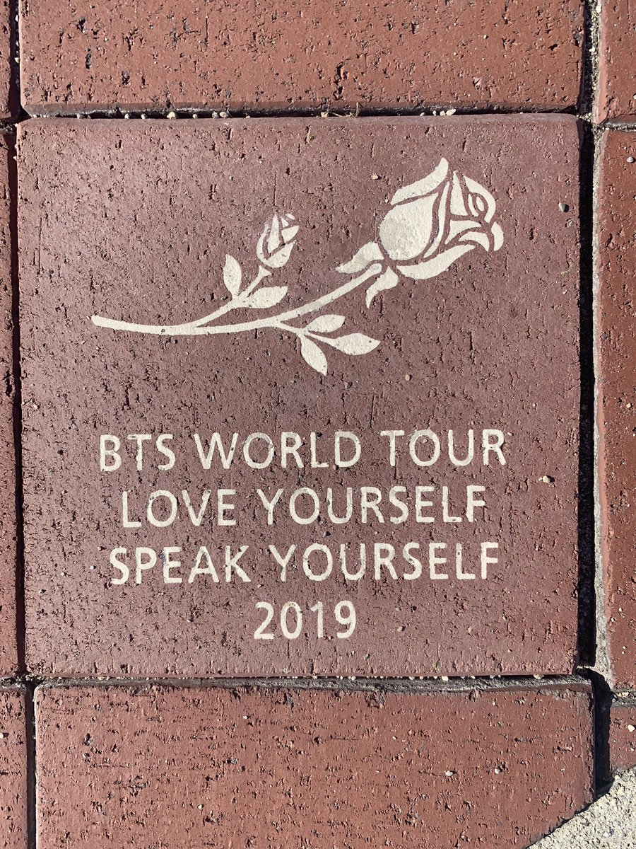 this is for the @BTS_twt @bts_bighit fans... special brick put in place at @RoseBowlStadium to commemorate their 2019 world tour stop here #BTSarmy @FOXLA