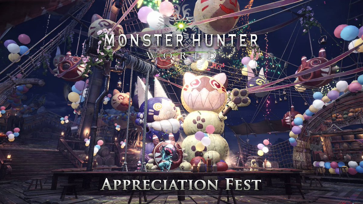 """Hunters! The last part of our #MHWorld 5-week Astera Fest celebration begins today with the Appreciation Fest!    Gala Suit + Felyne Star  Kulve Taroth Siege  Wyvern Ignition  Arch-Tempered Elder Dragons   """"The Name's Lavasioth""""   """"The Greatest Jagras"""" ... and more! <br>http://pic.twitter.com/ZChk2sTaMb"""