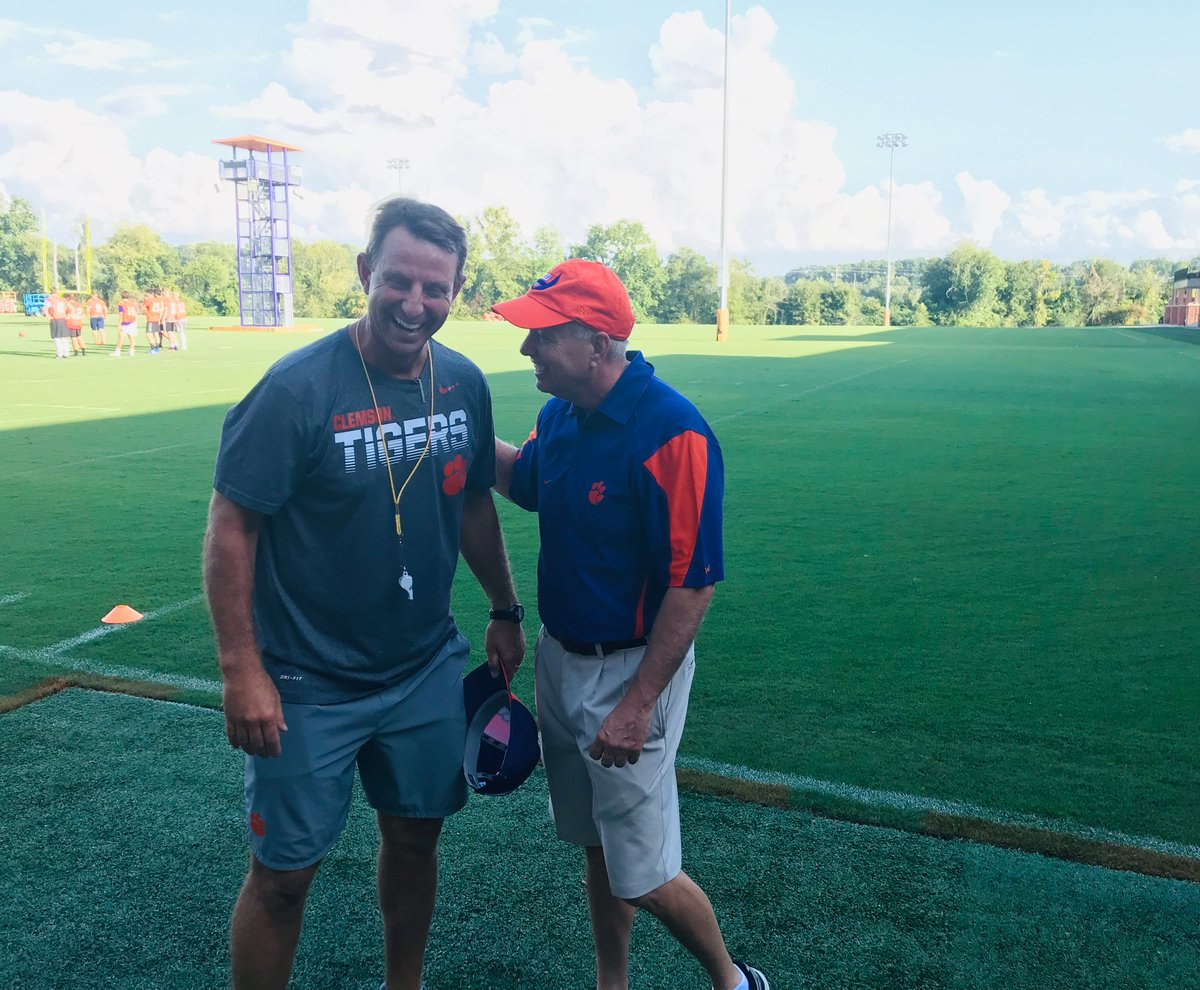 Thank you to Coach Dabo Swinney and @ClemsonFB for allowing me to come out and observe practice this afternoon. One week to Kickoff! 🏈🏈🏈