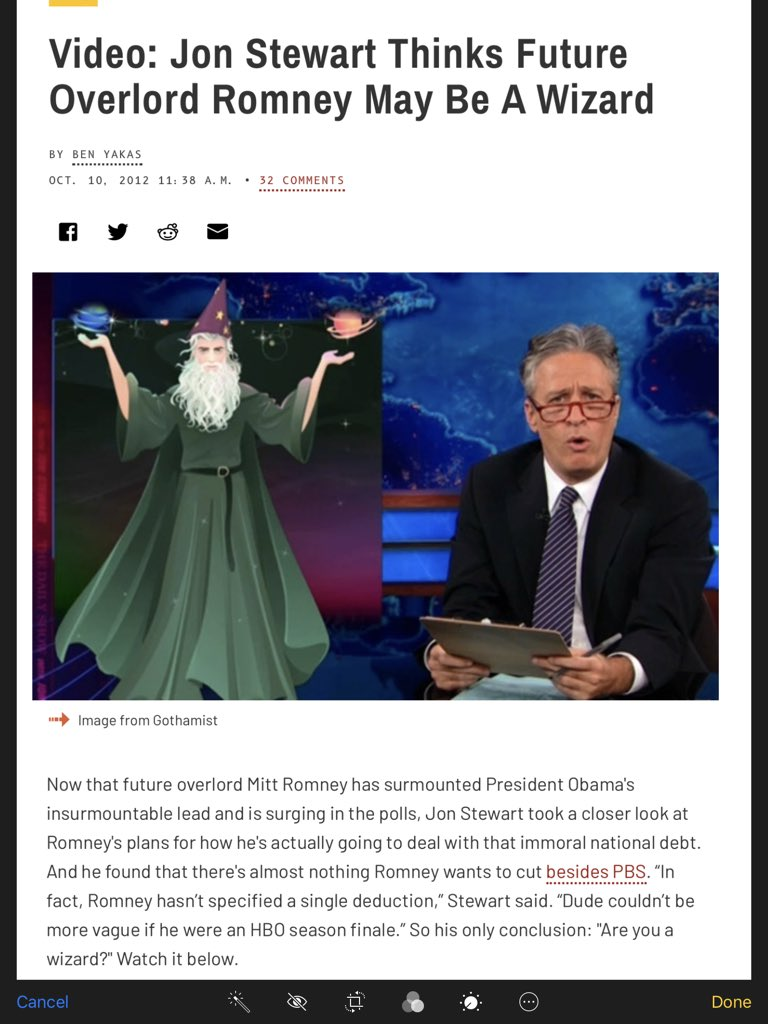 """ What are you a Wizard ?!"", #JonStewart Romney 2012 tax plan  I'll take it ...far better than a Conman Clown"