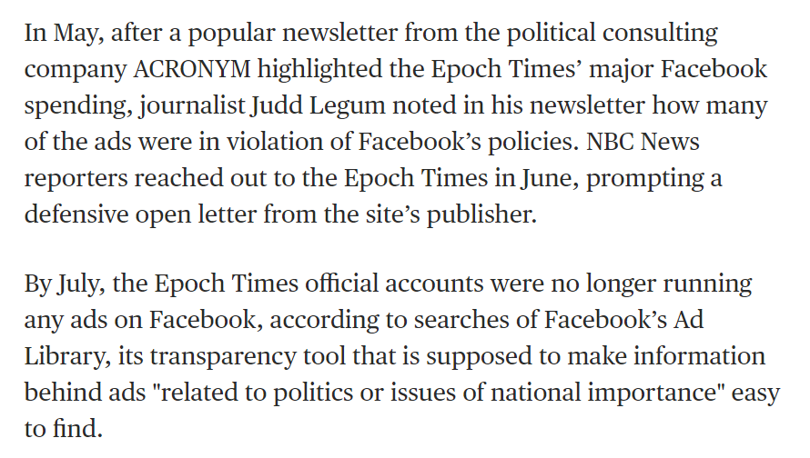 In May,  http:// popular.info     reported on the MASSIVE spending on pro-Trump Facebook ads by an obscure publication called The Epoch Times  Today, NBC News reports that Epoch Times has been banned from advertising on Facebook    https://www. nbcnews.com/tech/tech-news /epoch-times-begins-hiding-its-connection-huge-pro-trump-ad-n1045416  … <br>http://pic.twitter.com/TM1VRx6fIi