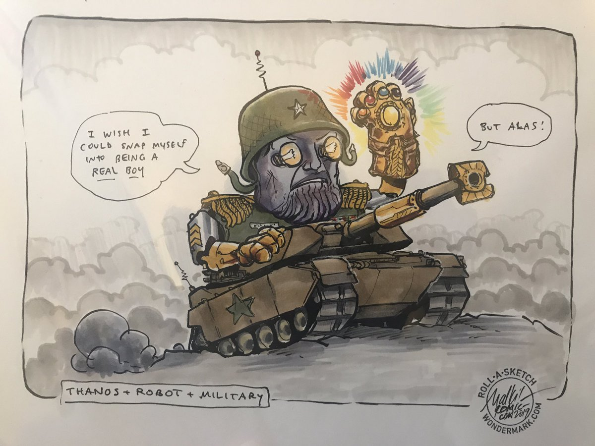 Thanks to @malki for my latest Roll-a-Sketch, ordered at this year's #SDCC2019, which arrived in the mail today!! I rolled Thanos + Robot + Military. <br>http://pic.twitter.com/OoBWaXu3G5