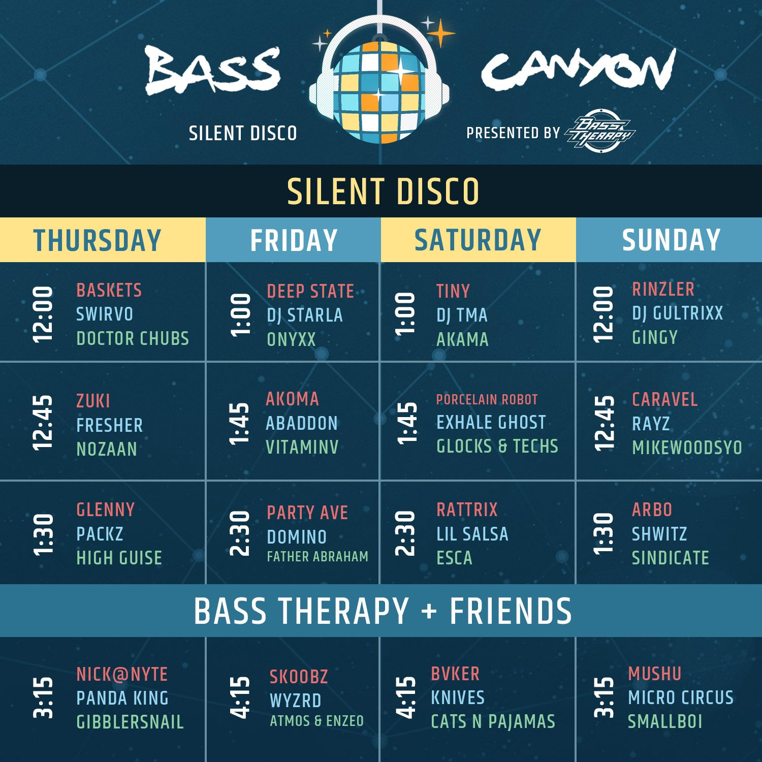 The Bass Canyon Silent Disco schedule
