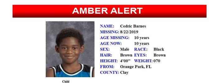 #Amberalert for Cedric Barnes has been cancelled. The 10-year-old #Florida boy has been found safe and sound.<br>http://pic.twitter.com/7perjVoyv6