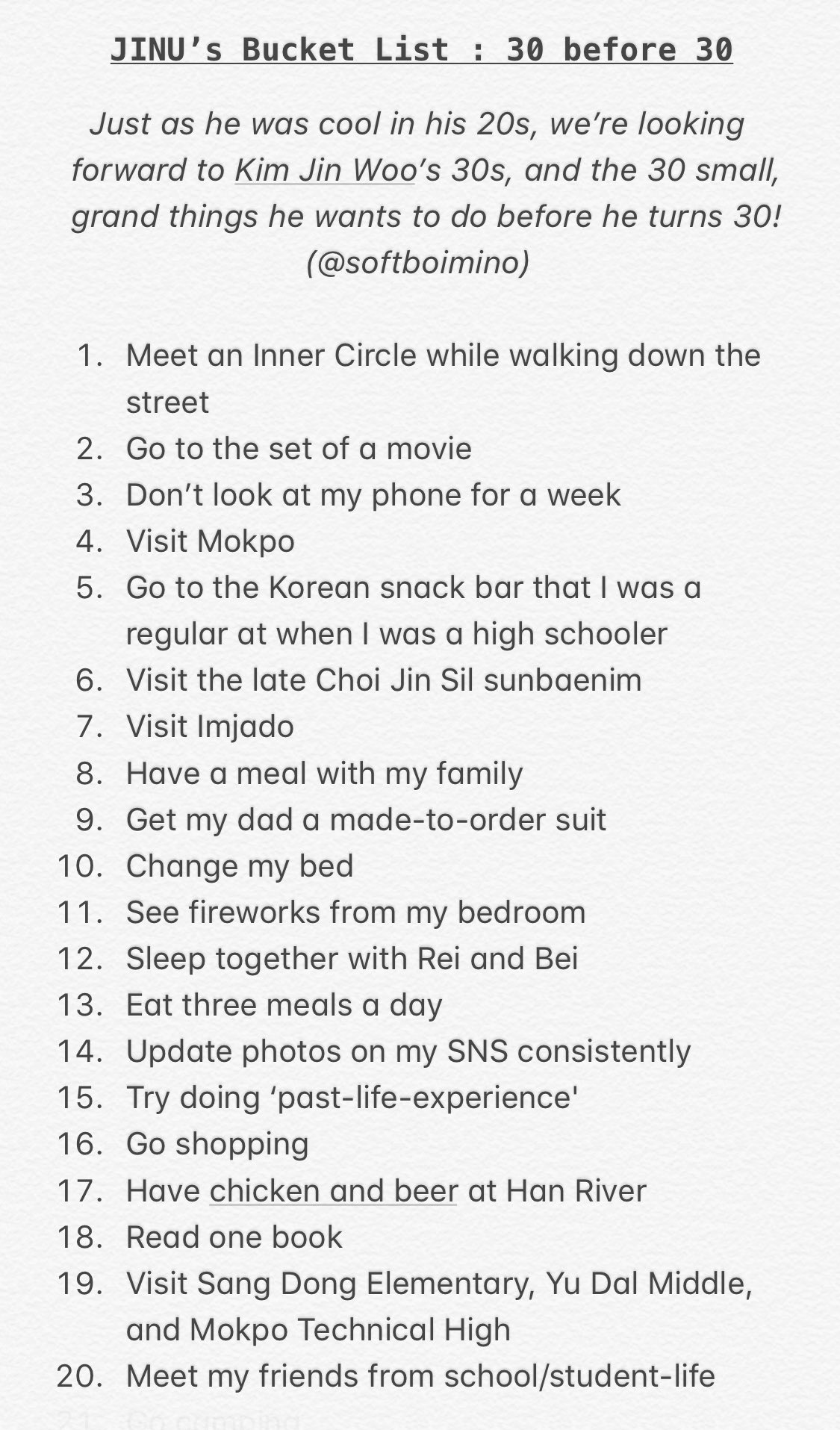 Ava On Twitter Jinu S 30 Before 30 Bucketlist From The Bonus Book In The Jinu S Heyday Album 김진우 Kimjinwoo Call Anytime 또또또