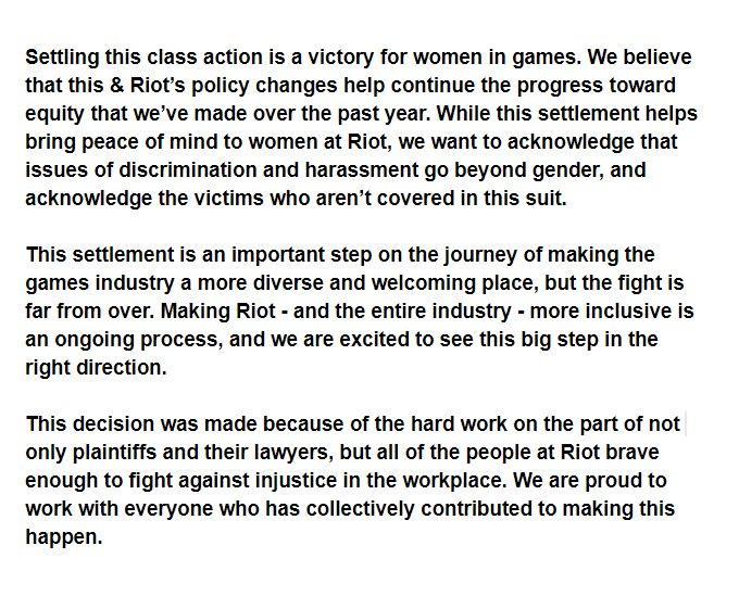 Riot Games Settles Sex Harassment, Discrimination Lawsuit