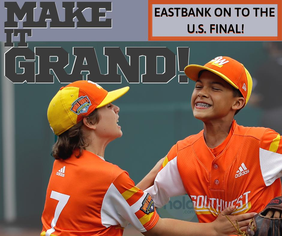 IN-CREDIBLE. A grand slam ... a 10-run win and a spot in the U.S. Final of the Little League World Series.   Congrats to the Eastbank All-Stars!  Next up: A rematch with Hawaii  <br>http://pic.twitter.com/9UDkN3Uv6j
