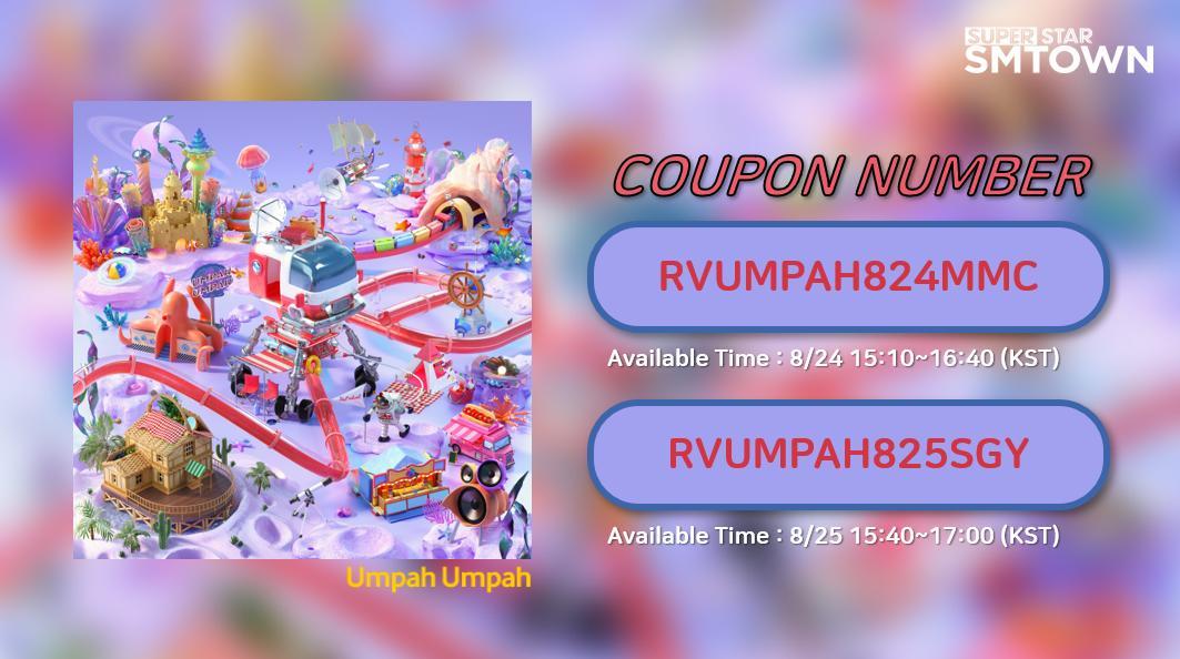 [Yay! Watch Red Velvet on TV show~♪]  #RedVelvet comes back? #SuperStarSMTOWN prepares valuable Coupons! Check the TV program time (KST)! Put Coupon Code in #SuperStarSMTOWN   *COUPON : RVUMPAH824MMC / RVUMPAH825SGY <br>http://pic.twitter.com/xgj13vvBvj
