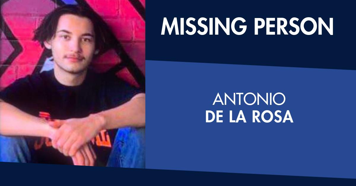 Antonio De La Rosa was last seen at home on Portman Avenue about 6am this morning.The 17-year-old is possibly wearing a black Kathmandu jacket, black track suit pants and black Nike runners.📞Melton Police Station on 9747 7999🔗http://bit.ly/33OHtwV