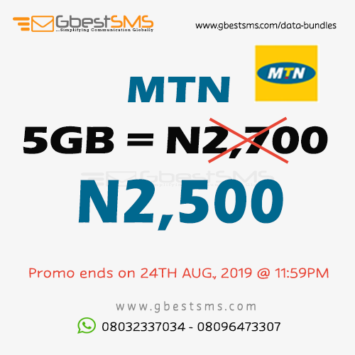 WEEKEND PROMO! Get 5GB of MTN data for N2,500 only. Promo ends 24TH August, 2019 @ 11:59PM. Hurry now while stock last. Call or WhatsApp 08032337034 to buy now https://t.co/1vdKA2dPYM #mtndata #mtn #mobiledata #Friday #FridayFeeling #cheapdata #WeekendVibes #nigeria #WeekendPromo https://t.co/BSvKwZavb7