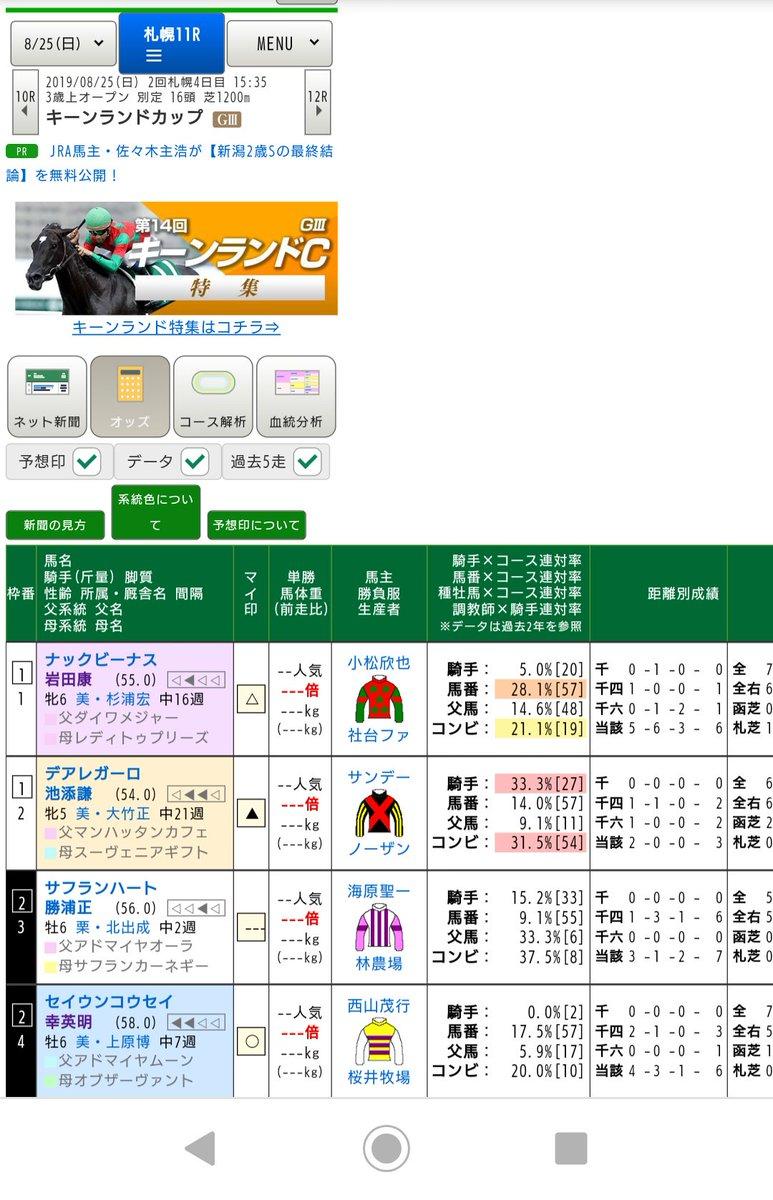 日曜の札幌11レース キーンランドカップ(GⅢ)  応援してるセイウンコウセイも出走するので楽しみ! 夏競馬も終盤… 今週もウマ娘絡みや牝馬の活躍に期待 ╭( ・ㅂ・)و ̑̑ グッ !