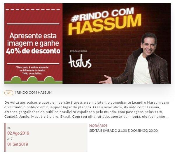 Curtindo o Hassum hoje no #TheNoite e no domingo estarei no teatro Miguel Falabella! #HassumNoTheNoite #TheNoiteComDaniloGentili