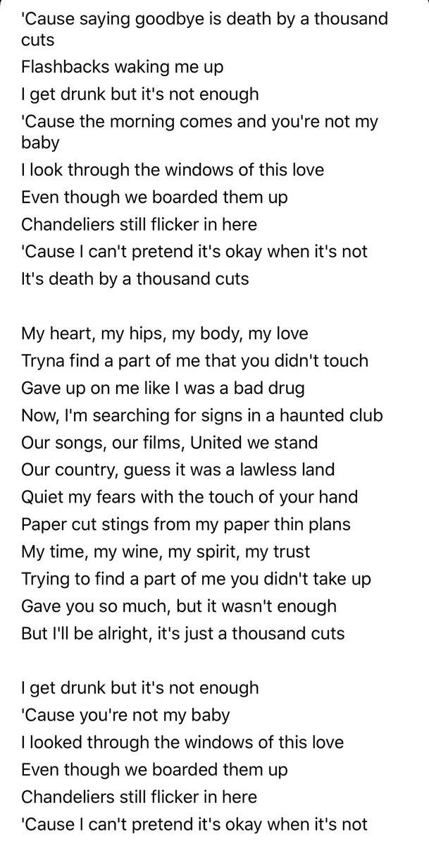lyrics to death by a thousand cuts