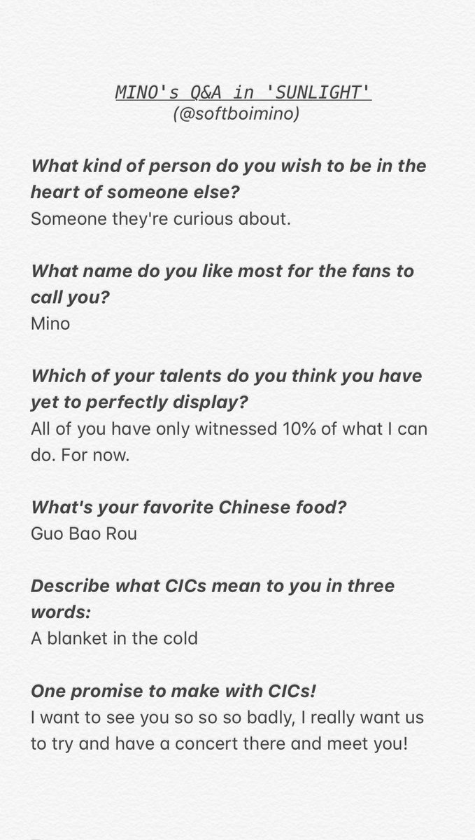 #MINO's Q&A from the CIC Hawaii photobook 'SUNLIGHT' <br>http://pic.twitter.com/woAL5xgGk6